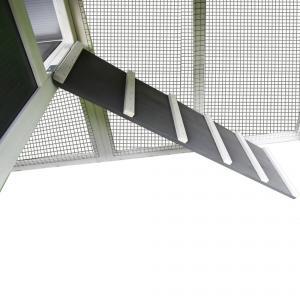 Modern tyúkketrec, tyúkól fából tojóládával fehér/szürke színben