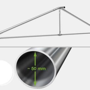 Professzionális extra erős rendezvénysátor 5x10 m, ponyva PVC 550g/m2 fehér +2,6 m oldalmagasság