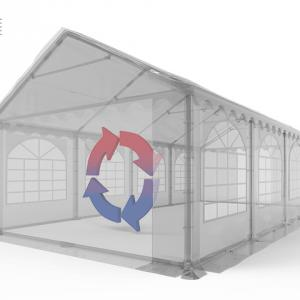 Professzionális pavilon, rendezvénysátor 3x6 m, ponyva PVC 500g/m2 zöld fehér