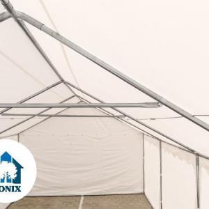 Professzionális raktársátor, tároló sátor 4x6 m ponyva PVC 500g/m2 zöld erősített szerkezettel