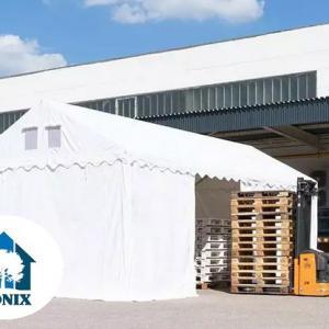 Professzionális raktársátor, tároló sátor 5x10 m ponyva PVC 550 g/m² 2,6 m oldalmagasság fehér