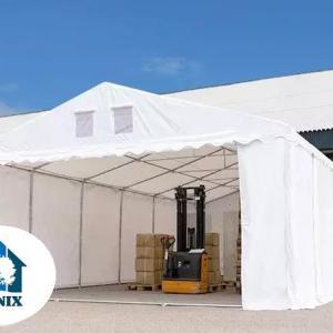 Professzionális raktársátor, tároló sátor 5x8 m ponyva PVC 550 g/m² 2,6 m oldalmagasság  szürke