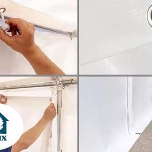 Professzionális raktársátor, tároló sátor 8x12 m ponyva PVC 500g/m2 fehér erősített szerkezettel