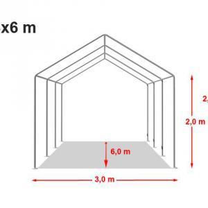 Professzionális rendezvénysátor 3x6 m, ponyva PVC 500g/m2 zöld fehér