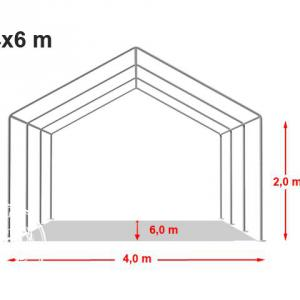 Professzionális rendezvénysátor 4x6 m, ponyva PVC 500g/m2 szürke