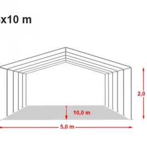 Professzionális rendezvénysátor, 5x10 m ponyva 500g/m2 kék-fehér