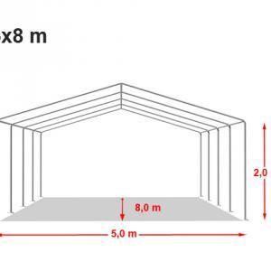 Professzionális rendezvénysátor, 5x8 m ponyva 500g/m2 fehér