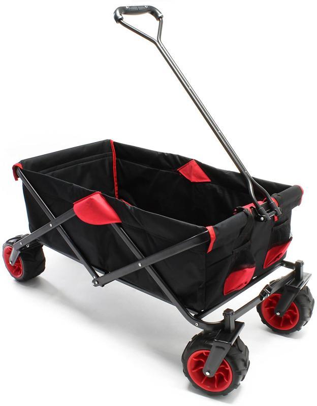 Kézikocsi, kertikocsi strandkocsi nagy kerékkel fekete/piros