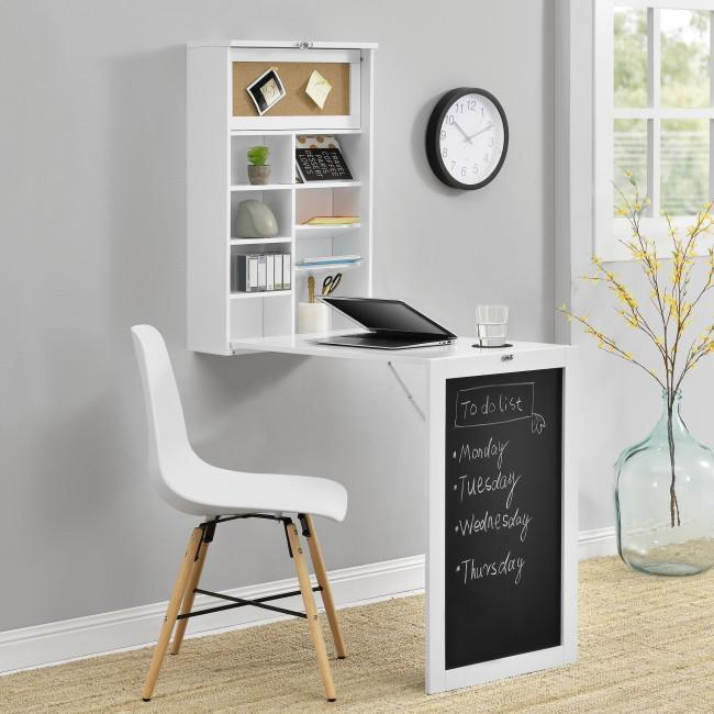 Kompakt fali íróasztal, étkezőasztal fehér színben