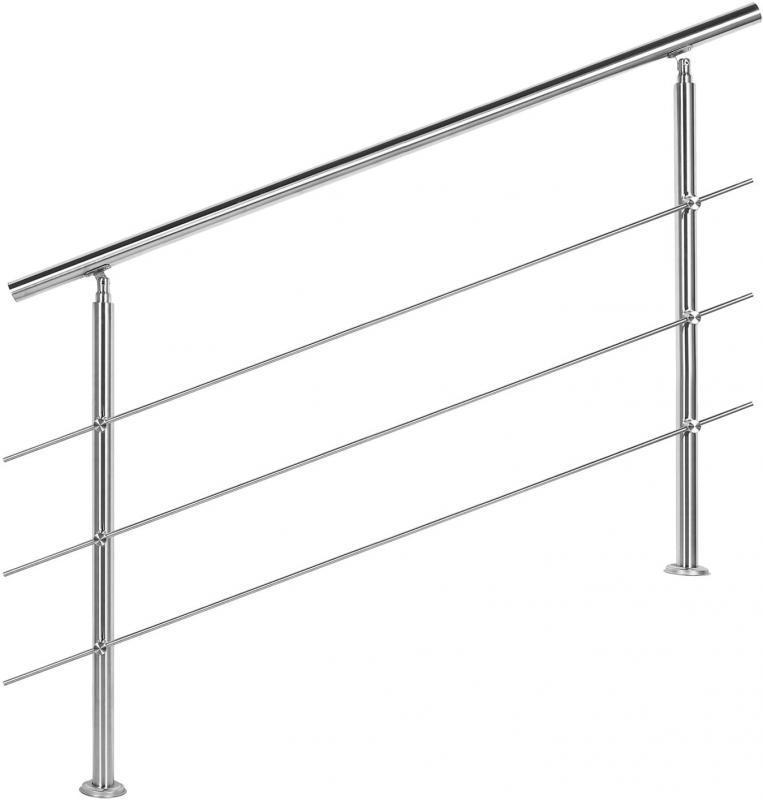 Korlát, kapaszkodó, rozsdamentes acél, 140 cm 3 keresztrúddal