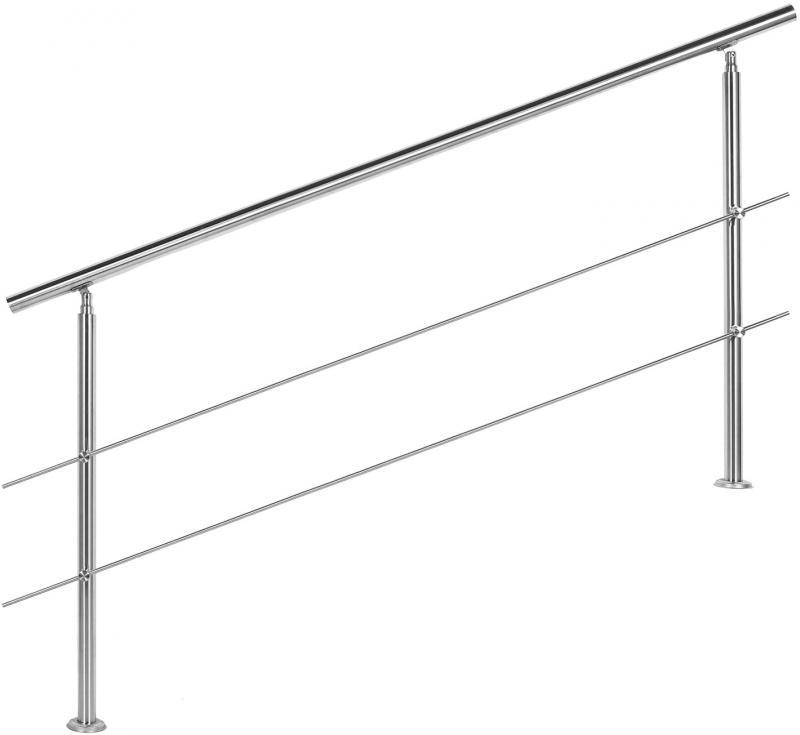 Korlát, kapaszkodó, rozsdamentes acél, 180 cm 2 keresztrúddal
