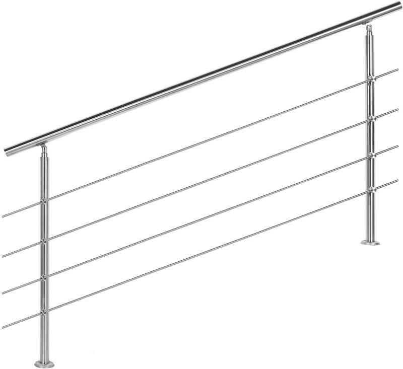 Korlát, kapaszkodó, rozsdamentes acél, 180 cm 4 keresztrúddal