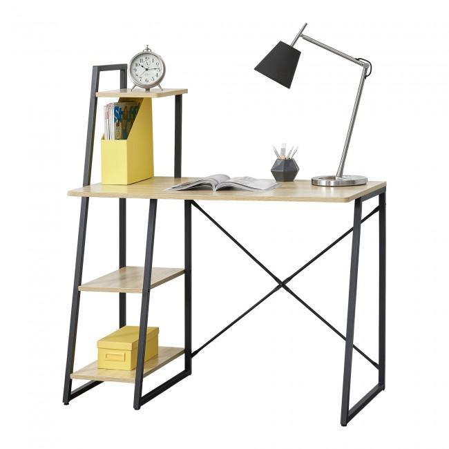 Modern íróasztal irattartó polccal tölgyfa színben