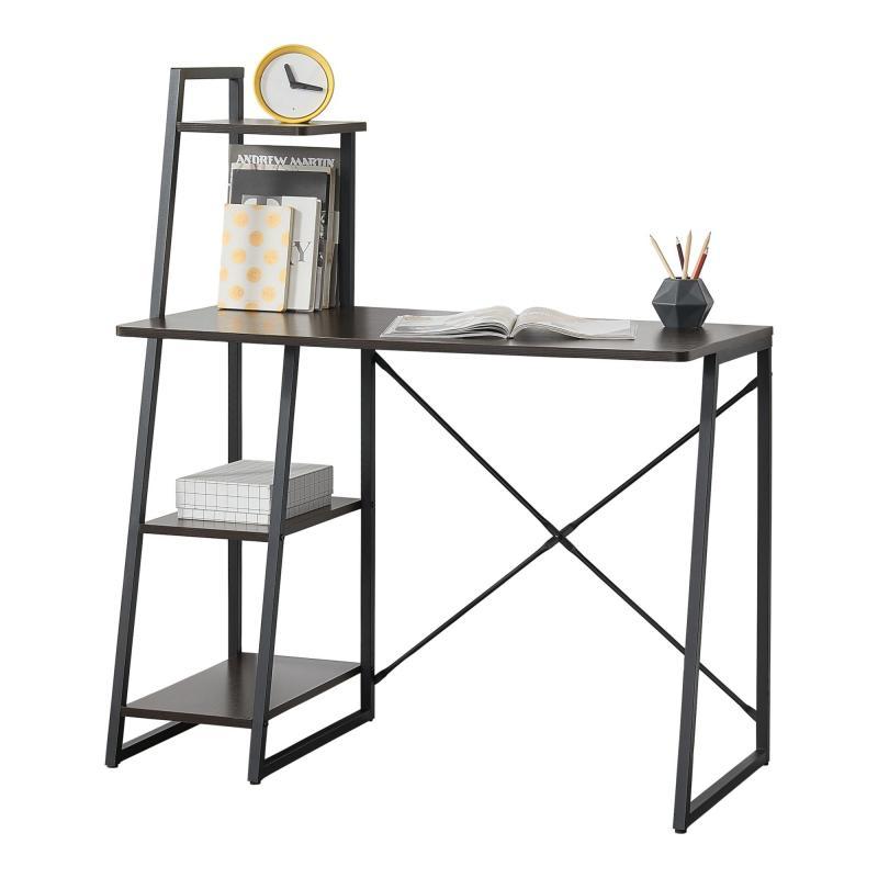 Modern íróasztal, számítógépasztal polccal fekete/dió