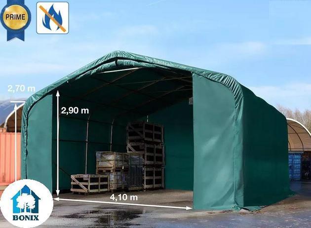 Professzionáli  tűzálló raktársátor 6x6m ajtó mérete 4,1x2,9 m, PVC 720g/m2 zöld