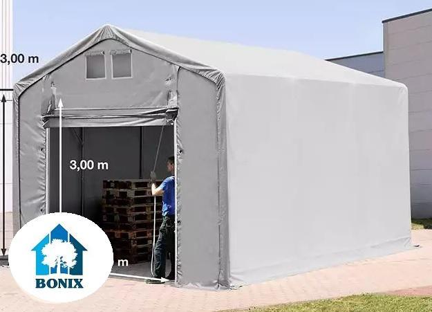 Professzionális 3x6 m raktársátor 3,0 m oldalmagasság, emelt ajtóval, PVC 550g/m2 szürke