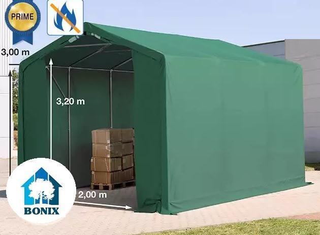 Professzionális 3x6m tűzálló raktársátor 3,0 m oldalmagasság, PVC 720g/m2 zöld
