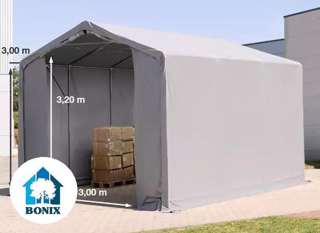 Professzionális 4x6 m raktársátor 3,0 m oldalmagasság, PVC 550g/m2 szürke
