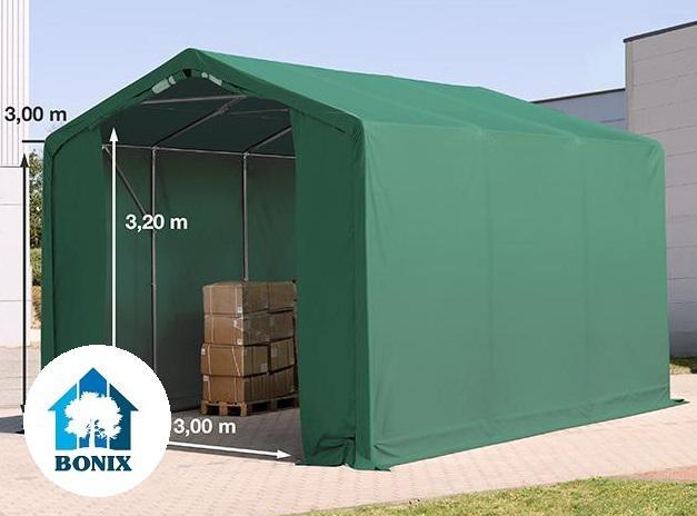 Professzionális 4x6 m raktársátor 3,0 m oldalmagasság, PVC 550g/m2 zöld
