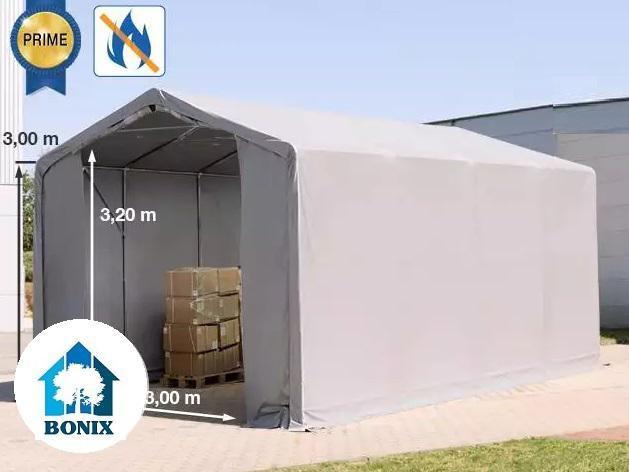 Professzionális 4x8m tűzálló raktársátor 3,0 m oldalmagasság, PVC 720g/m2 szürke