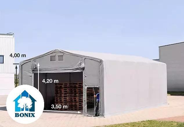 Professzionális 8x10m raktársátor 4,00m oldalmagasság, felhúzható kapuval PVC 550g/m2 szürke