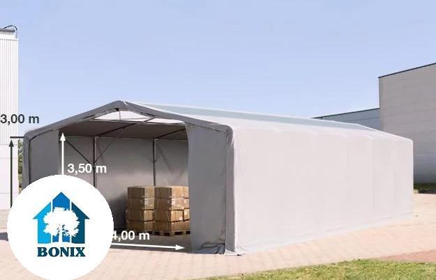 Professzionális 8x12m raktársátor 3 m oldalmagasság, cipzáras kapuval és tetőablakkal, ponyva PVC 550 g/m2 szürke
