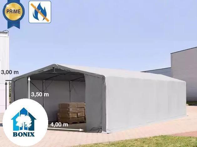 Professzionális 8x12m raktársátor 3 m oldalmagasság, cipzáras kapuval PVC 720 g/m2, tűzálló ponyva szürke
