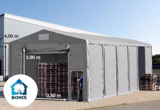 Professzionális 8x12m raktársátor 4,00m oldalmagasság, felhúzható kapuval PVC 550g/m2 szürke