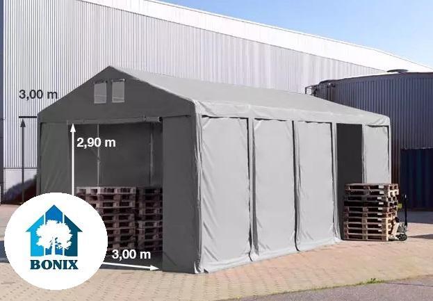 Professzionális raktársátor 4x10 m 3,0m oldalmagasság, standard bejárat, PVC 550g/m2 szürke