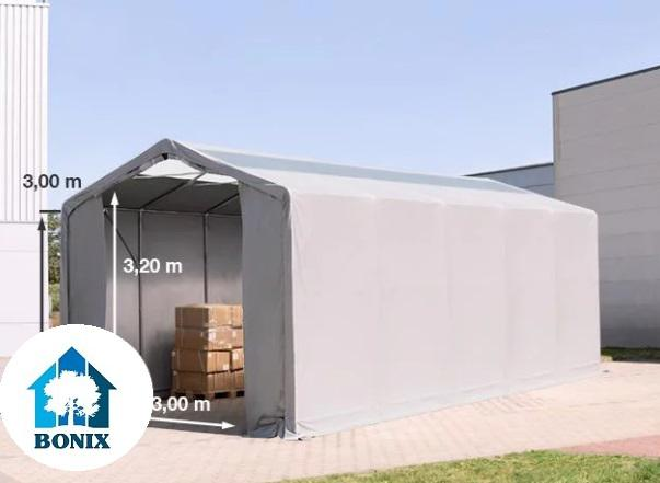 Professzionális raktársátor 4x12m 3,00 m oldalmagasság, átlátszó tetőablakkal PVC 550g/m2 szürke