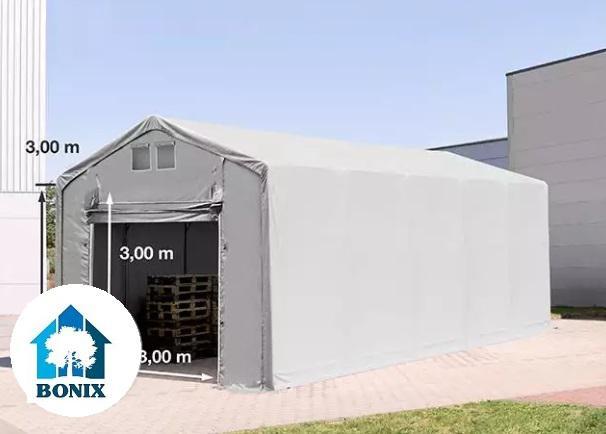 Professzionális raktársátor 4x12m 3,00 m oldalmagasság, felhúzható kapuval, PVC 550g/m2 szürke