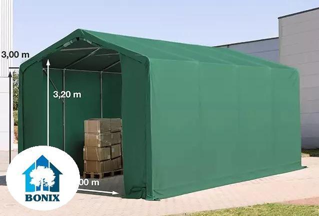 Professzionális raktársátor 4x8 m 3,00 m oldalmagasság, PVC 550g/m2 zöld