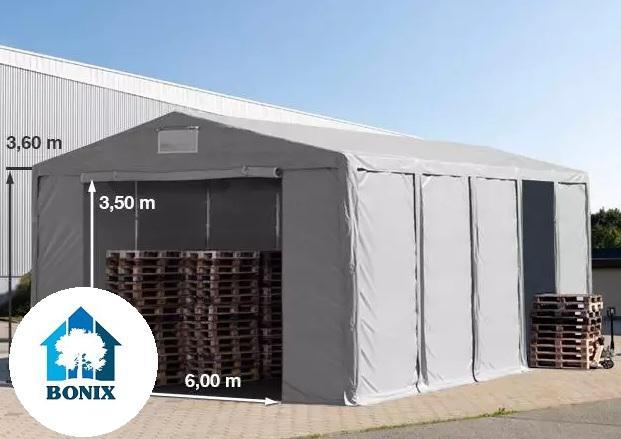 Professzionális raktársátor 8x10 m 3,6 m oldalmagasság, PVC 550g/m2 szürke