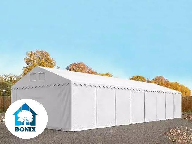 Professzionális raktársátor, tároló 6x16 m ponyva PVC 550 g/m² 2,6 m, erősített szerkezet  fehér