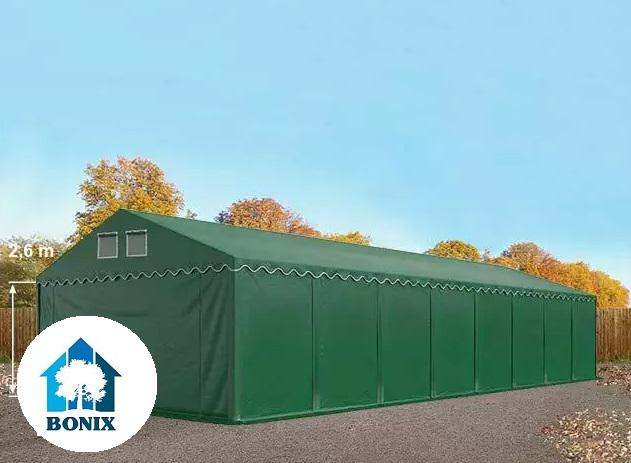 Professzionális raktársátor, tároló 6x16 m ponyva PVC 550 g/m² 2,6 m, erősített szerkezet sötétzöld