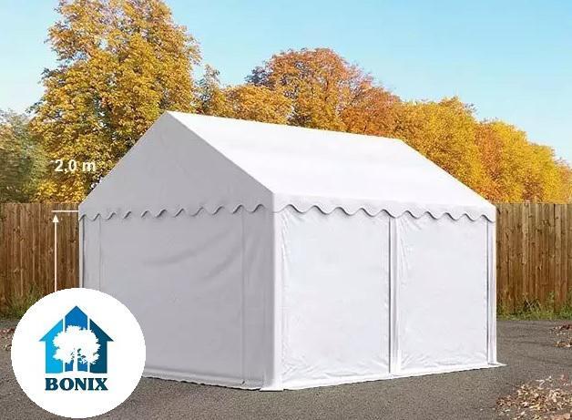 Professzionális raktársátor, tároló sátor 3x4 m ponyva PVC 500g/m2 fehér erősített szerkezet