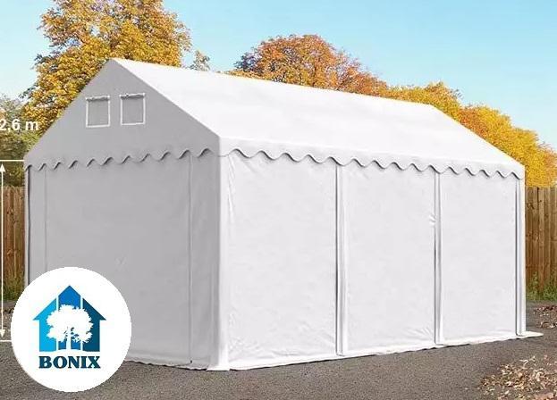 Professzionális raktársátor, tároló sátor 4x6m ponyva 550g/m2  fehér +2,6 m + Padlókeret