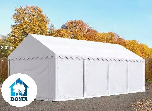 Professzionális raktársátor, tároló sátor 4x8 m ponyva PVC 500g/m2 erősített szerkezettel fehér