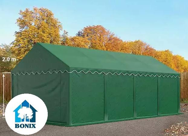 Professzionális raktársátor, tároló sátor 4x8 m ponyva PVC 500g/m2 sötétzöld erősített szerkezettel