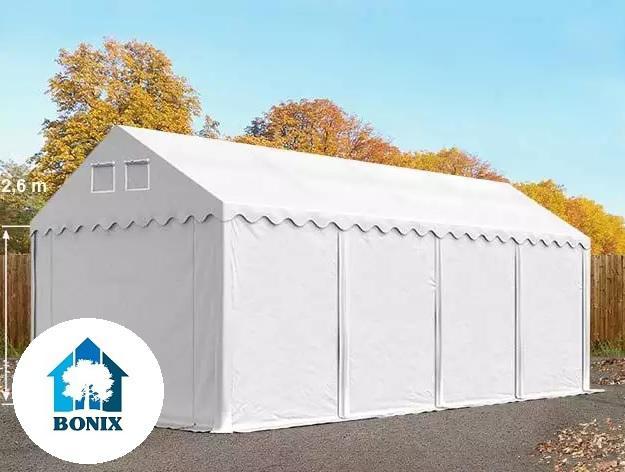 Professzionális raktársátor, tároló sátor 4x8m ponyva 550g/m2  +2,6 m + Padlókeret fehér
