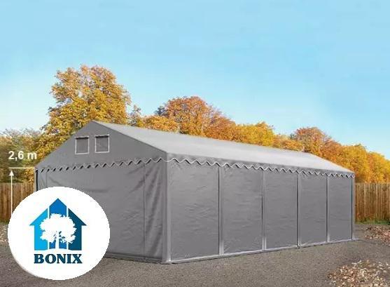 Professzionális raktársátor, tároló sátor 5x10 m ponyva PVC 550 g/m² 2,6 m oldalmagasság szürke