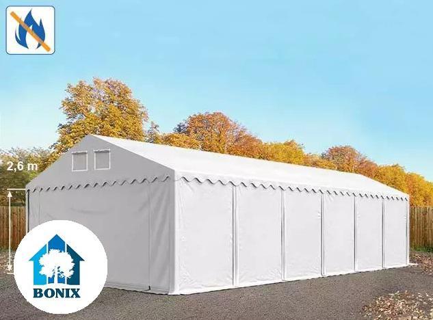 Professzionális raktársátor, tároló sátor 5x12 m ponyva tűzálló 550g/m2  fehér 2,6 m oldalmagasság