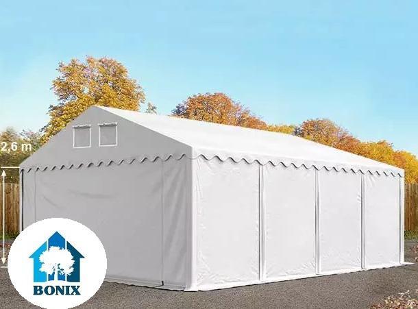 Professzionális raktársátor, tároló sátor 5x8 m ponyva PVC 550 g/m² 2,6 m oldalmagasság  fehér