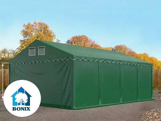 Professzionális raktársátor, tároló sátor 5x8 m ponyva PVC 550 g/m² 2,6 m oldalmagasság sötétzöld