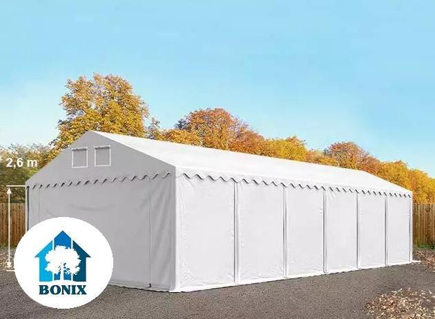 Professzionális raktársátor, tároló sátor 6x12m ponyva 550g/m2 +2,6 m + padlókeret fehér