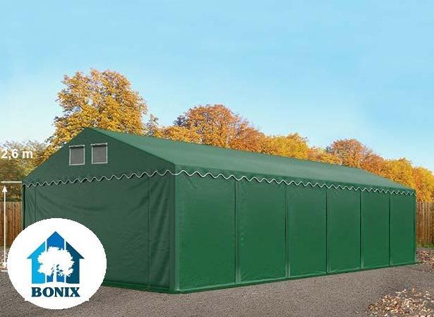 Professzionális raktársátor, tároló sátor 6x12m ponyva 550g/m2 +2,6 m + padlókeret  zöld