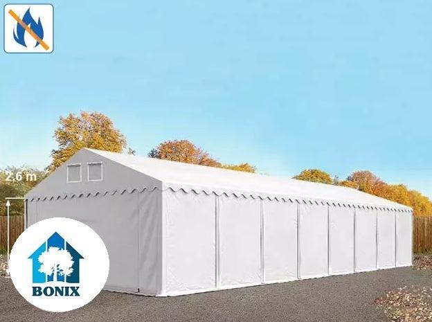 Professzionális raktársátor, tároló sátor 6x24m ponyva tűzálló 550g/m2  fehér 2,6 m oldalPADLÓKERET