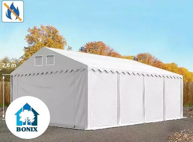 Professzionális raktársátor, tároló sátor 6x8 m ponyva tűzálló 550g/m2  fehér 2,6 m oldalmagasság erősített szerkezet fehér
