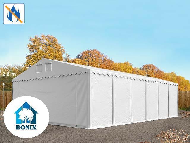 Professzionális raktársátor, tároló sátor 8x12m ponyva tűzálló 550g/m2  fehér 2,6 m padlókerettel