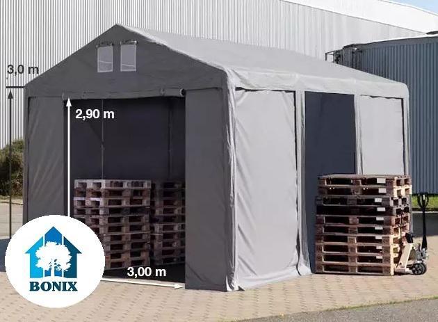 Professzionális raktársátor4x6m oldalmagasság 3,0 m, standard ajtó, PVC 550g/m2 szürke